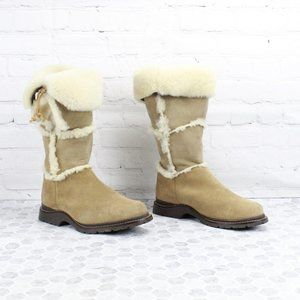 LL Bean Suede Shearling Lined Tall Winter Boots